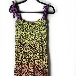 Rainbow Ombre Floral Maxi Stretch Dress